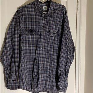 Lacoste Navy Plaid button down shirt